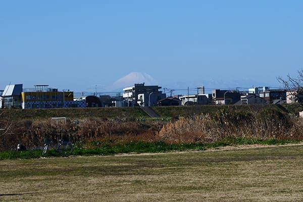 多摩川河川敷下側から見る富士山